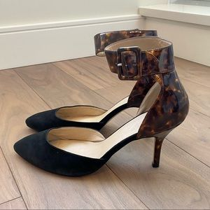 MARC FISHER Leopard and Black Ankle Strap Heels
